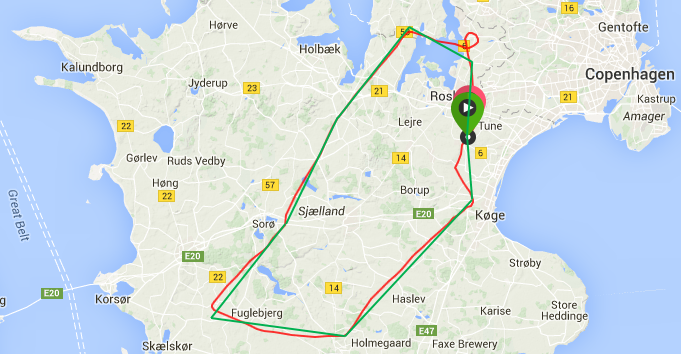 Navigation flight route 22-05-2014